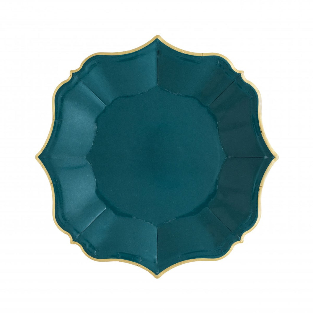 Ornate Emerald Green Dessert Paper Plates - Ellie and Piper
