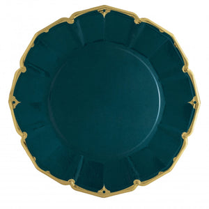 Ornate Emerald Green Dinner Paper Plates - Ellie and Piper