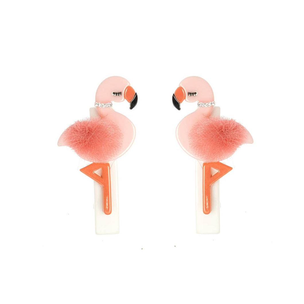 Flamingo Alligator Hair Clips