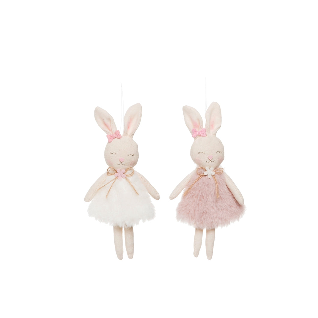Furry Easter Bunnies Ornaments (Set of 2) - Ellie and Piper