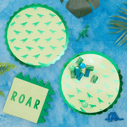 GREEN FOILED DINOSAUR PARTY PAPER PLATES