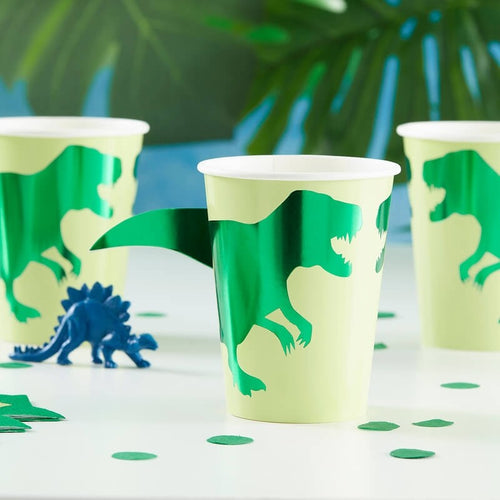 GREEN FOILED DINOSAUR PARTY PAPER CUPS