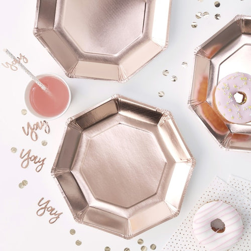 Rose Gold Foiled Paper Plates - Ellie and Piper
