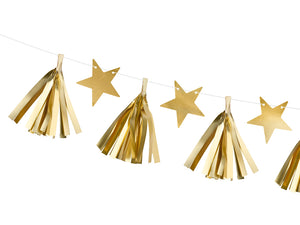 Gold Paper Stars and Tassels Garland - Ellie and Piper