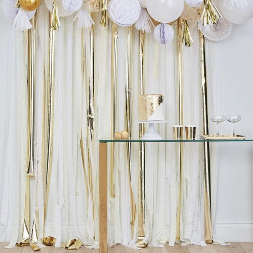 Metallic Gold and White Party Streamers Backdrop - Ellie and Piper