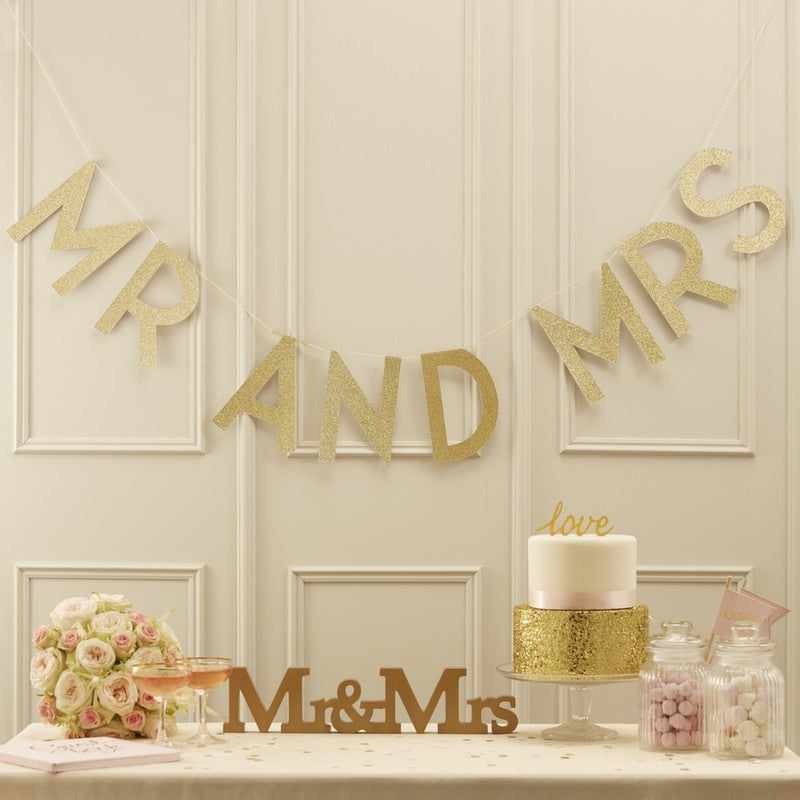 Gold Glitter Mr and Mrs Banner - Ellie and Piper