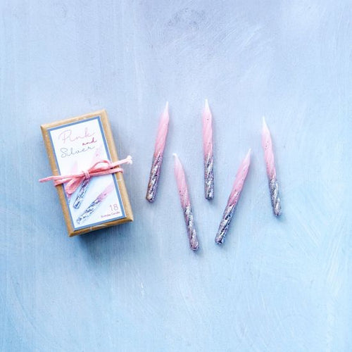 SILVER & PINK PARTY CANDLES - SET OF 18