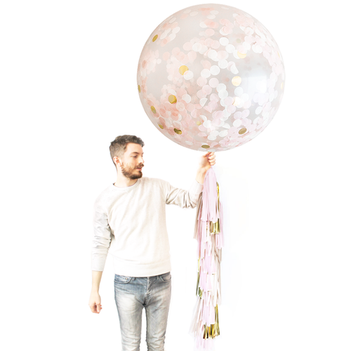 Giant Balloon with DIY Tassels - Blush & Gold Confetti - Ellie and Piper