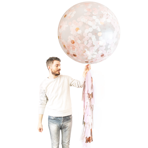 Giant Balloon with DIY Tassels - Blush & Rose Gold Confetti - Ellie and Piper
