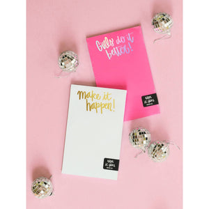 Girls Do it Better Pink Holographic Foil Notepad - Ellie and Piper