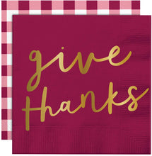 Give Thanks Cocktail Napkins - Ellie and Piper