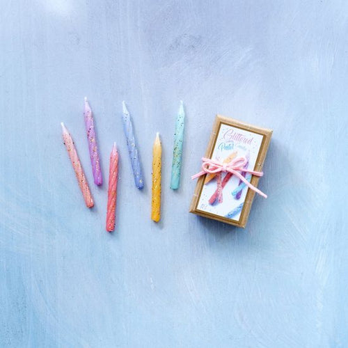 GLITTERED PASTEL PARTY CANDLES - SET OF 18