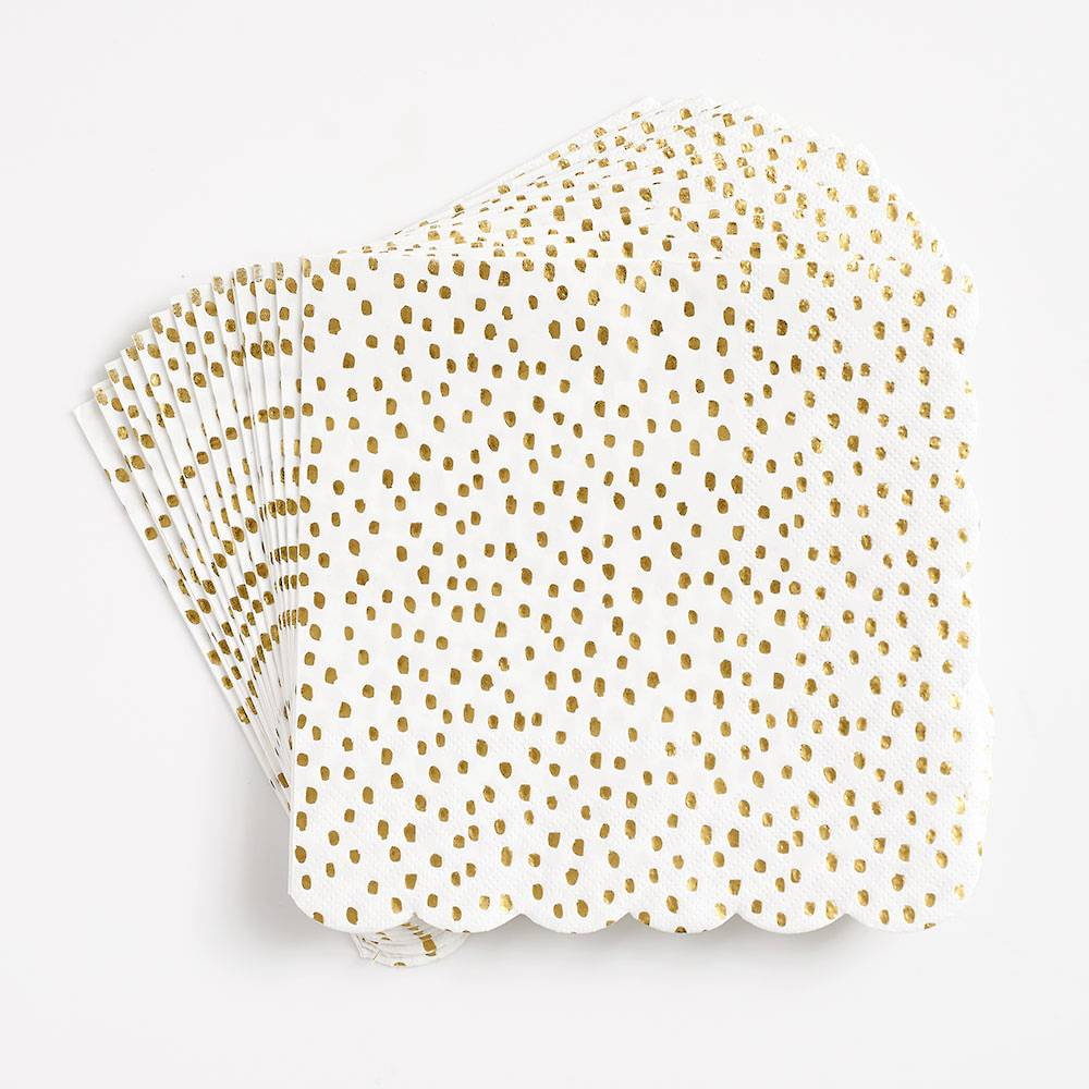 Gold Flurry Scalloped Large Napkins - Ellie and Piper