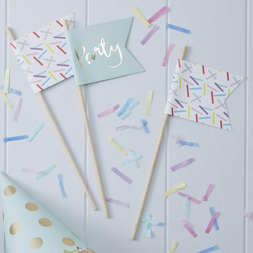 Gold Foiled & Sprinkles Party Flags