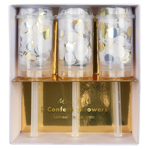 Metallic Gold, Silver & White Confetti Poppers