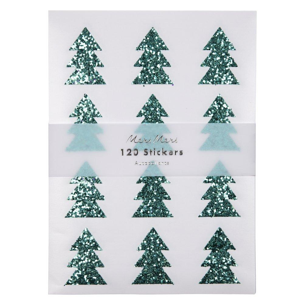 Green Glitter Tree Sticker Sheets