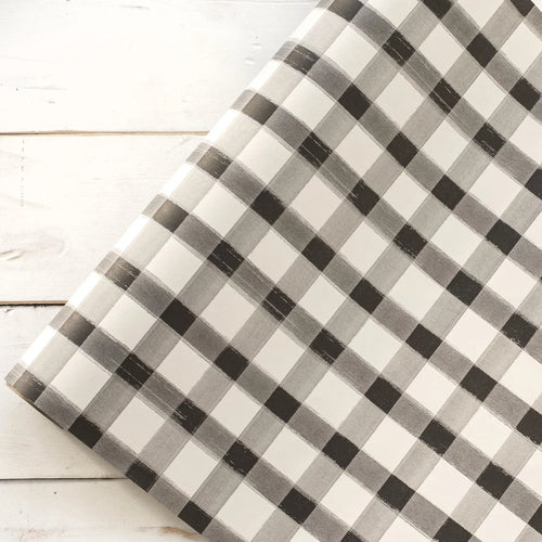 Black Painted Gingham Checkered Table Runner