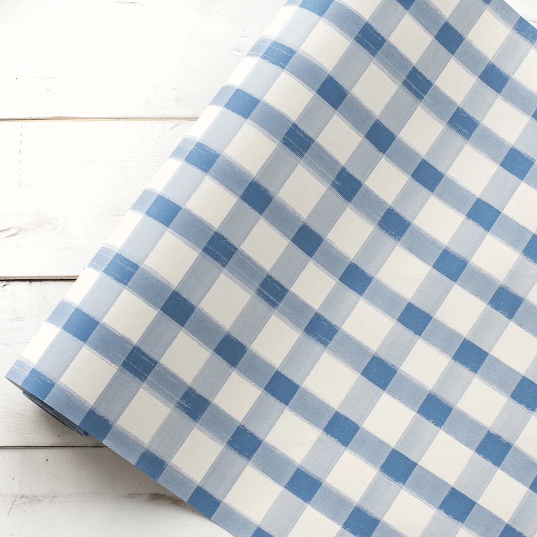 Blue Painted Gingham Checkered Table Runner