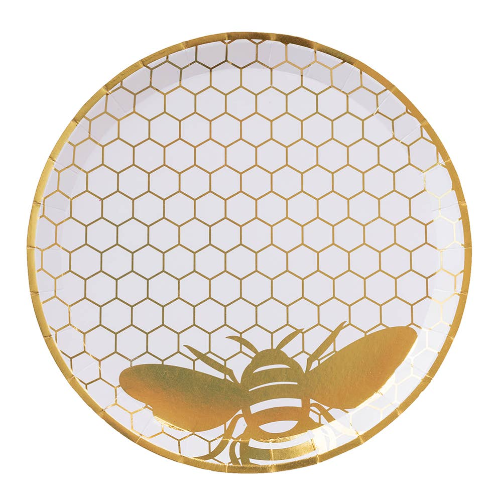 Hey Bae-Bee White and Gold Dinner Plates
