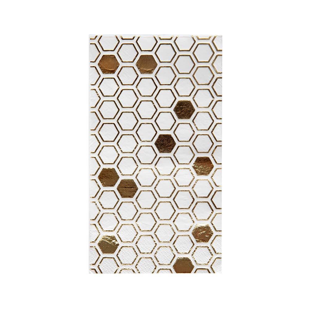 Hey Bae-Bee White and Gold Guest Napkins - Ellie and Piper