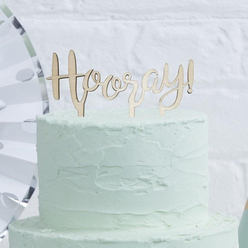 Hooray Wooden Cake Topper