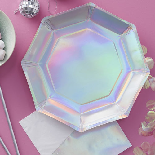 Iridescent Holographic Large Paper Plates - Ellie and Piper