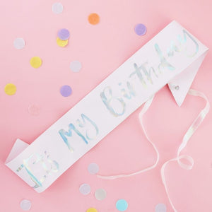 Pastel and Iridescent It's My Birthday Sash - Ellie and Piper