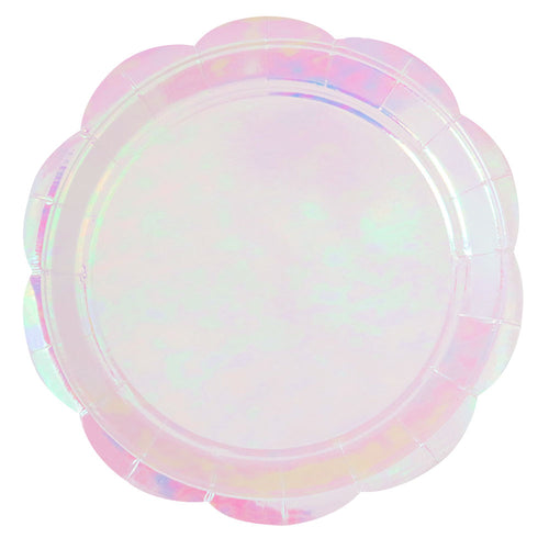 Iridescent Scallop Edge Large Paper Plates - Ellie and Piper