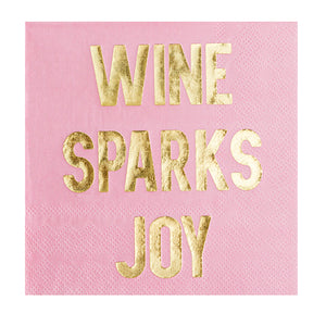 Wine Sparks Joy Pink Cocktail Napkins