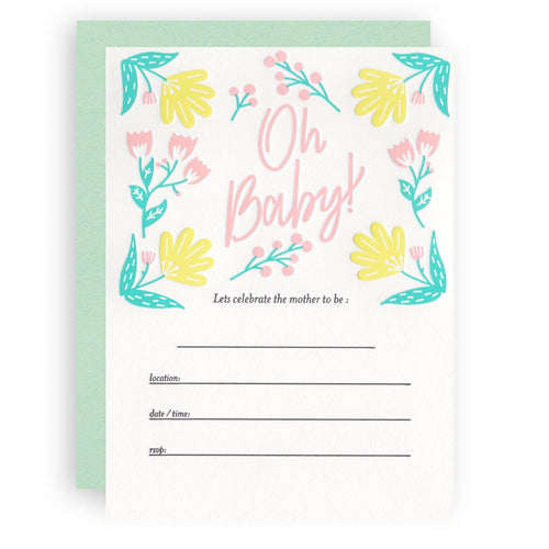 Baby Shower Letterpress Invitations
