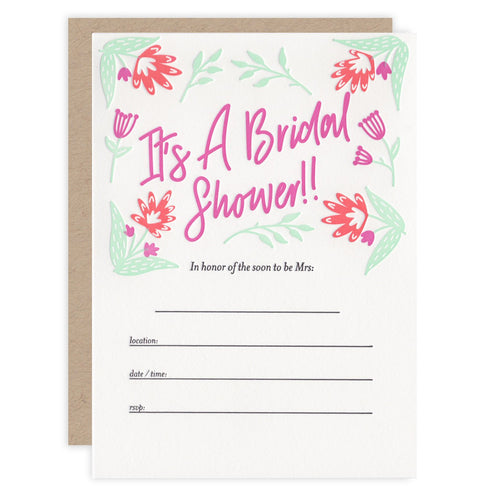 Bridal Shower Letterpress Invitations