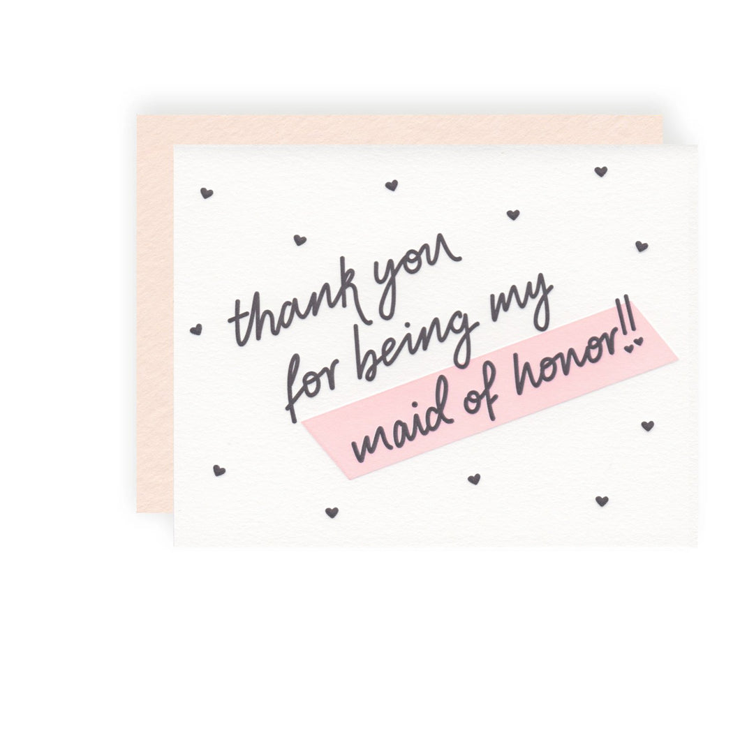 Thank You Maid of Honor Letterpress Card - Ellie and Piper