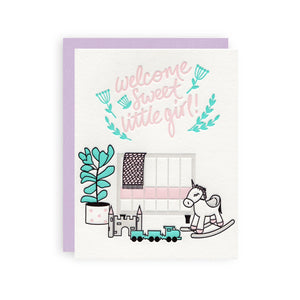 Welcome Baby Girl Letterpress Card - Ellie and Piper