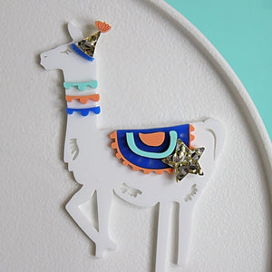 HEY PARTY LLAMA Cake Topper - Blue