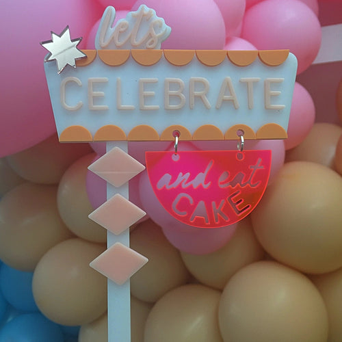 PINK VEGAS SIGN - Cake Topper - Ellie and Piper
