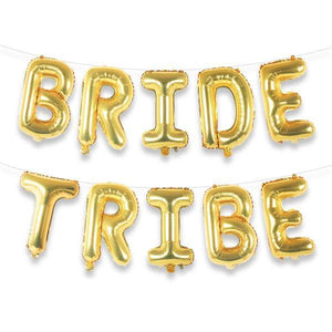 "BRIDE TRIBE 16"" Gold Foil Letter Balloon Banner Kit - Ellie and Piper"