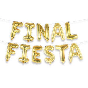 "FINAL FIESTA 16"" Gold Foil Letter Balloon Banner Kit"