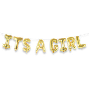"ITS A GIRL 16"" Gold Foil Letter Balloon Banner Kit - Ellie and Piper"