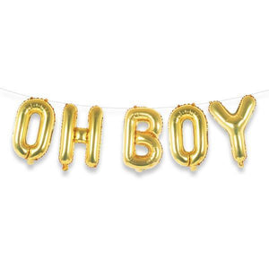 "OH BOY 16"" Gold Foil Letter Balloon Banner Kit - Ellie and Piper"