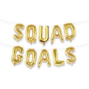 "SQUAD GOALS 16"" Gold Foil Letter Balloon Banner Kit - Ellie and Piper"