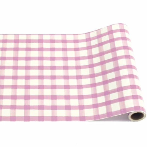 Lilac Purple Painted Gingham Checkered Table Runner