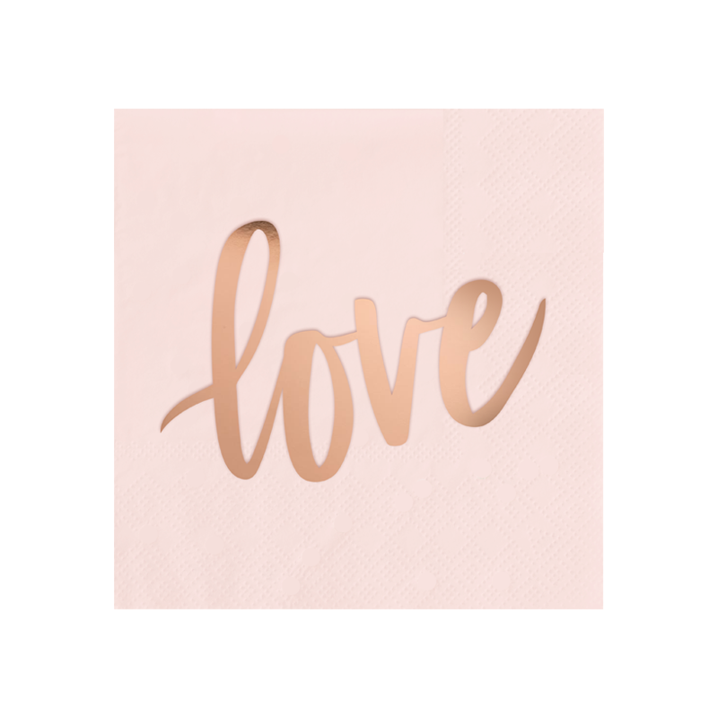 Blush Pink & Rose Gold Love Cocktail Napkins - Ellie and Piper