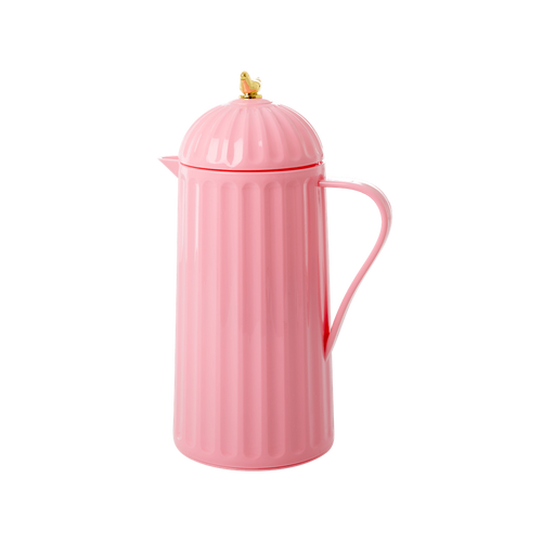 Pink Thermos Pitcher with Gold Birdie
