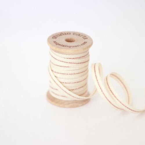 WOOD SPOOL OF 5 YARDS COTTON RIBBONS - NATURAL/ ROSE GOLD