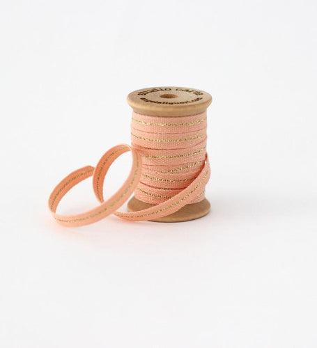 WOOD SPOOL OF 5 YARDS COTTON RIBBONS - PEACH/GOLD