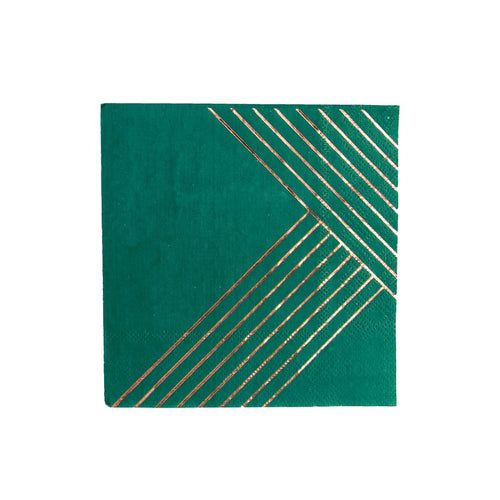 Manhattan Dark Green Striped Cocktail Paper Napkins
