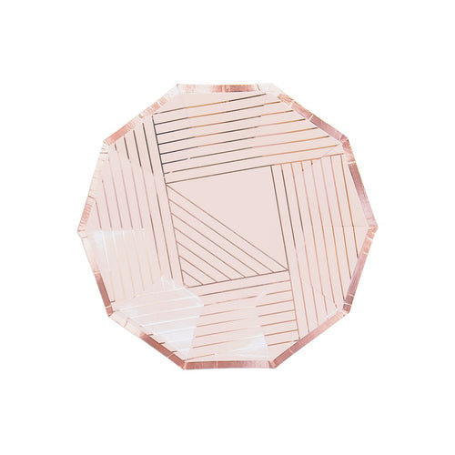 Manhattan Pale Pink Striped Small Paper Plates