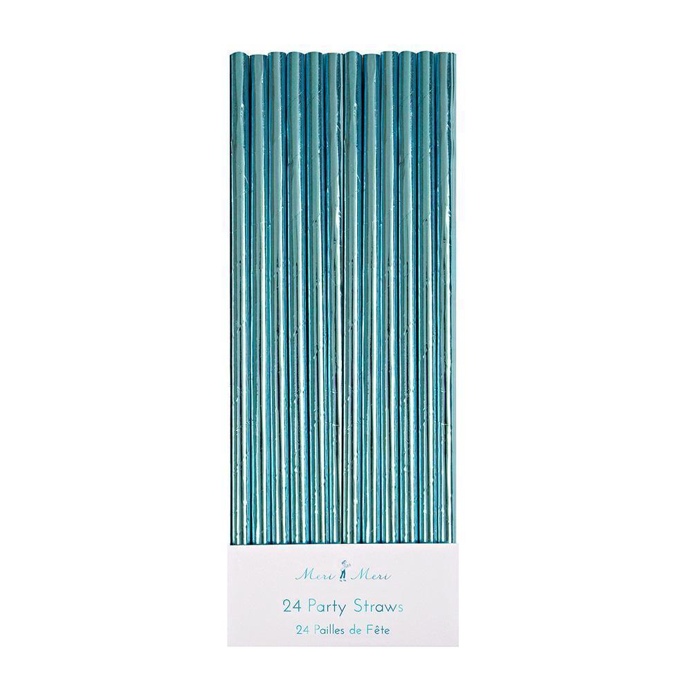 Blue Foil Party Straws - Ellie and Piper