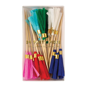 Assorted Bold Colored Paper Tassel Food Pick