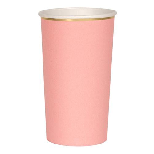 Coral Pink Tall Party Paper Cups - Ellie and Piper